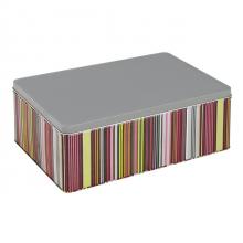 boîte métal décor rayures avec agrafes